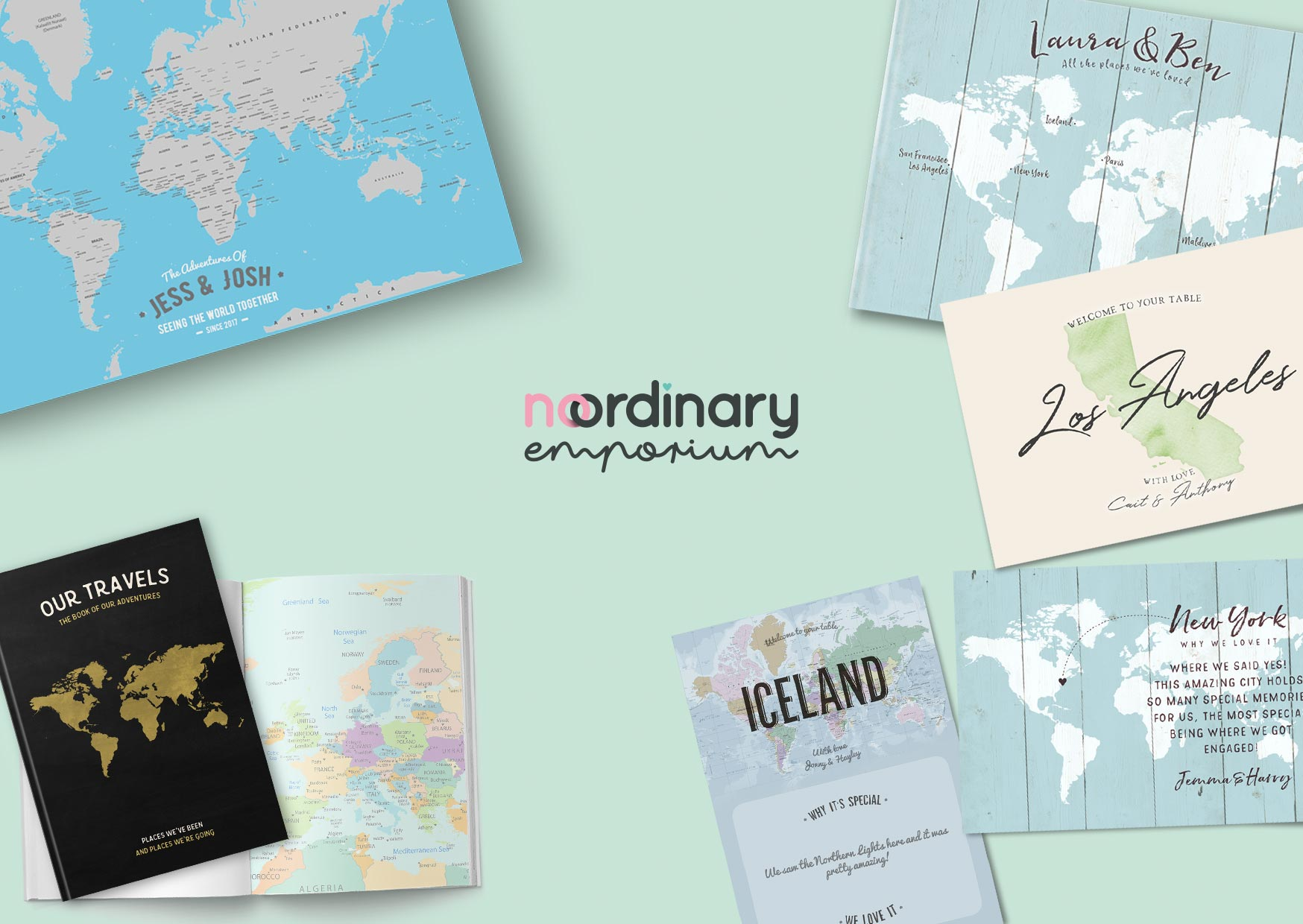 Personalised World Travel Maps, Bucket List Travel Journals & Notebooks and Unique Wedding Stationery by No Ordinary Emporium