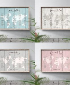 Rustic Travel Theme Wedding Table Plan