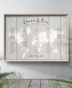 Grey Travel Theme Wedding Table Plan