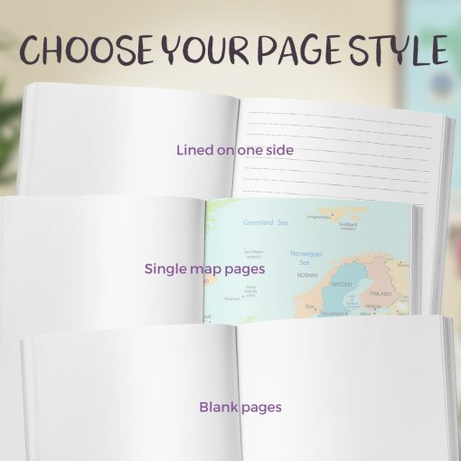 Choose your page style of the Vintage Map Travel Journal