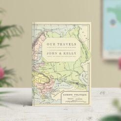 Vintage Map Travel Journal Europe Map