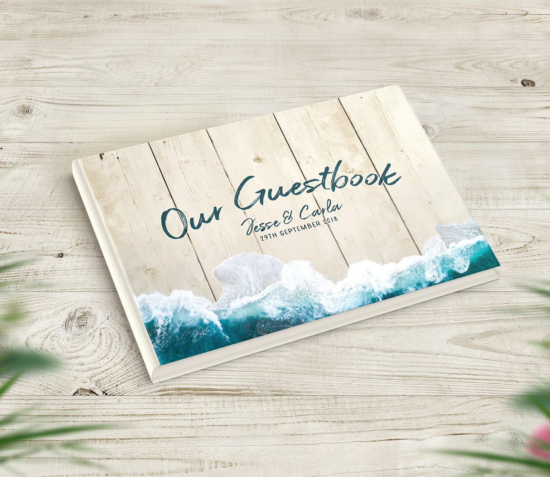 368b5b38b A beautiful Beach Themed Wedding Guestbook Guestbook that includes your  personalised text on the cover.