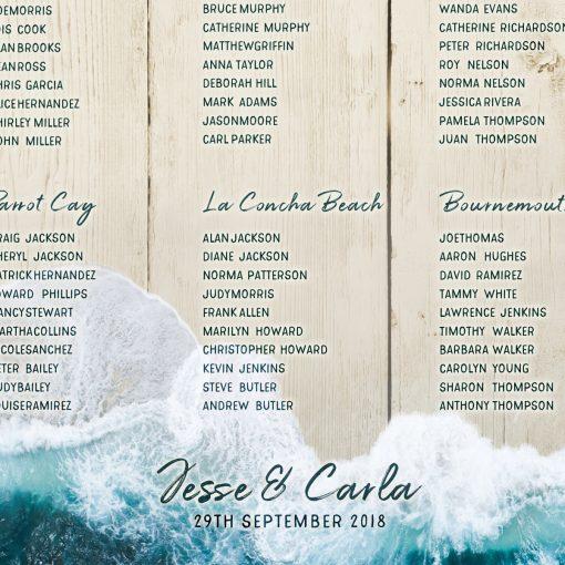 Beach Wedding Table Plan