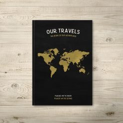 Travel Journal Black Gold Detailed Map Pages