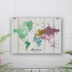 Colour Rustic Pin Board Map