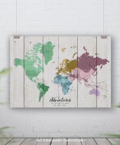 Colour Rustic Pin Board Map
