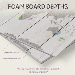 Foam board depths - Push pin travel map