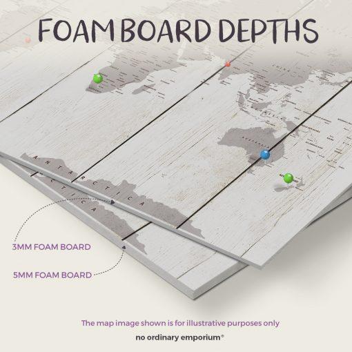 Foam board depths - Push pin travel map