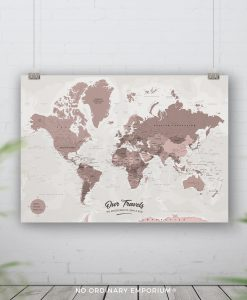 Detailed World Map Pin Board