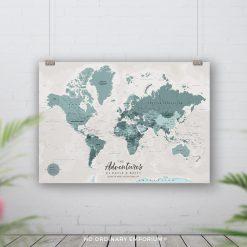 Detailed World Map Pin Board
