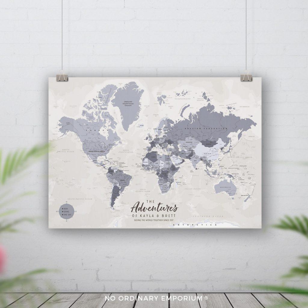 Grey Detailed World Map Pin Board