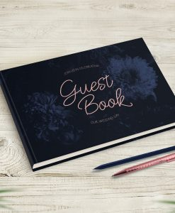 Navy Blush Wedding Guest Book with Floral Pattern