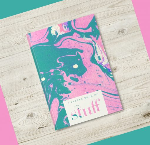 Pink Green Ink Marble Notebook