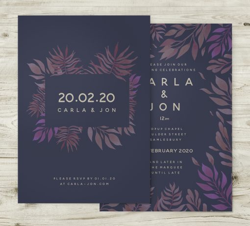 Tropical Jungle Theme Wedding Invitation Navy Pink