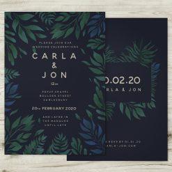Tropical Jungle Theme Wedding Invitation Navy Blue Green