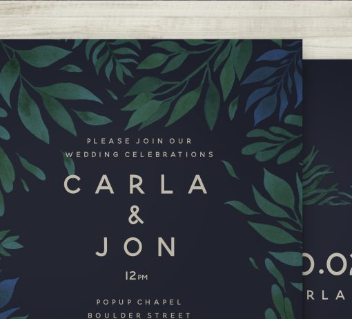 Tropical Jungle Theme Wedding Invitation Navy Blue Green