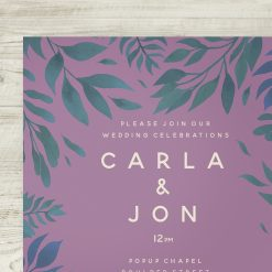 Tropical Jungle Theme Wedding Invitation Pink Navy