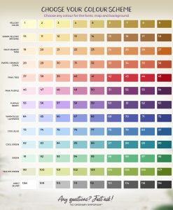 Table Card Colour Options