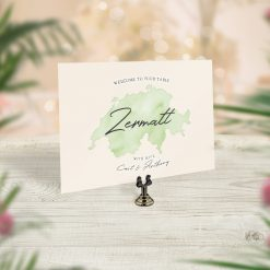 Travel Theme Wedding Table Cards Watercolour