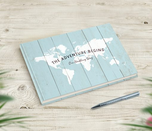 The Adventure Begins Wedding Guestbook Travel Theme Wedding
