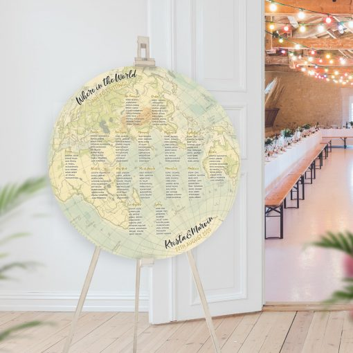 Circular Vintage Map Table Plan, Flat Globe Seating Chart