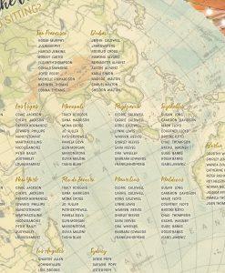 Circular Vintage Map Table Plan, Flat Globe Seating Chart