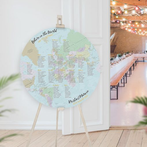 Circular Blue Map Table Plan, Flat Globe Seating Chart