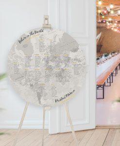 Circular Grey Map Table Plan, Flat Globe Seating Chart