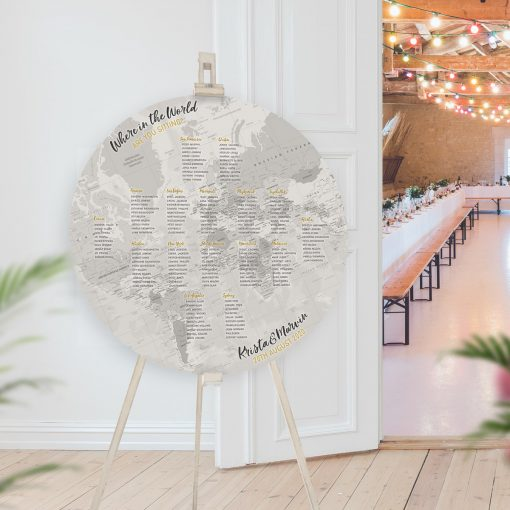Circular Grey Map Table Plan, Flat Globe Seating Chart