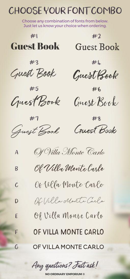 Guest Book Fonts Chart