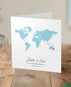 Personalised Map Card Engagement Wedding