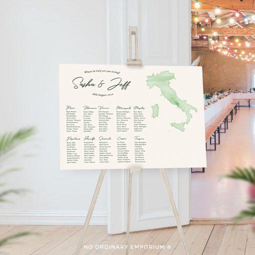 Italy Travel Theme Table Plan Wedding