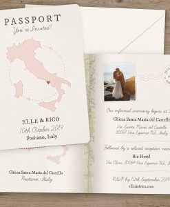 Passport Style Travel Theme Wedding Invitation