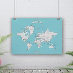 Push Pin Board World Map