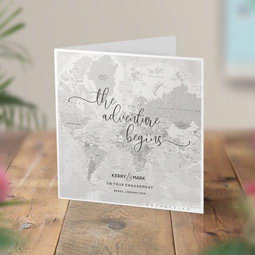 Map Location Engagement Wedding Card