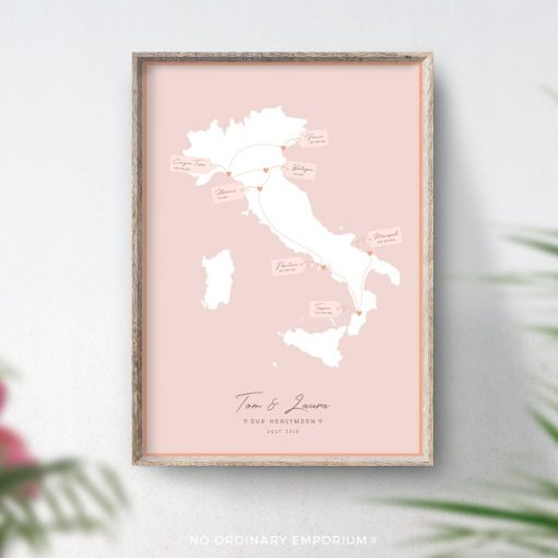 Honeymoon gift Travel memory map Italy