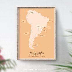 Honeymoon gift Travel memory map South America