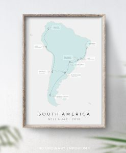 South America Travel Map Gift