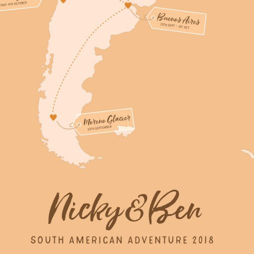 Honeymoon gift Travel memory map South America