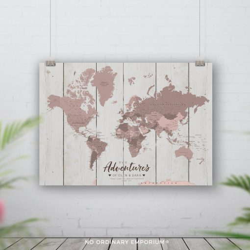 World Map Push Pin Board Personalised Gift