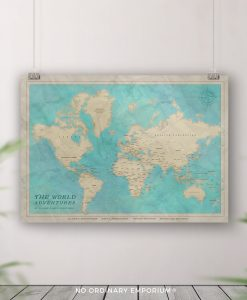 Personalised World Map Push Pin Board Gift