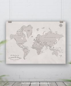 Cream Beige Push Pin Board Map