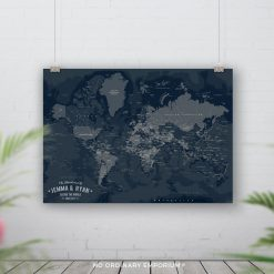 Navy Push Pin Board Map