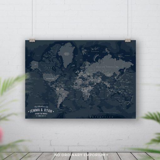Navy Push Pin Board Map
