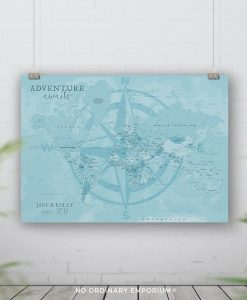 Blue Compass Map Pin Board