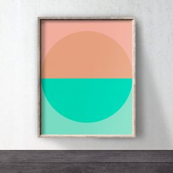 Orange green abstract print