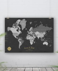 Grey Gold Map Pin Board