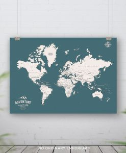 Teal Push pin world map