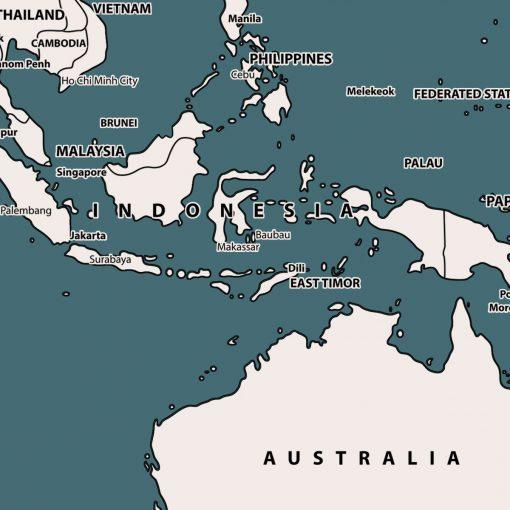 Teal Push pin world map