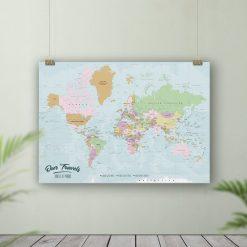 Personalised World Map Push Pin Board Gift